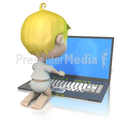 Baby At Laptop  Presentation clipart