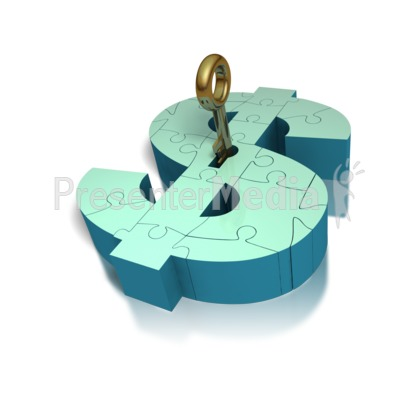 Key Insert Lock Money Puzzle  Presentation clipart