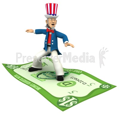 Uncle Sam Standing Riding Money  Presentation clipart