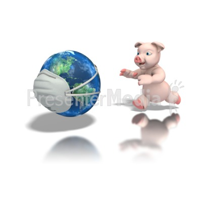 Pig Chasing World With Mask Presentation clipart
