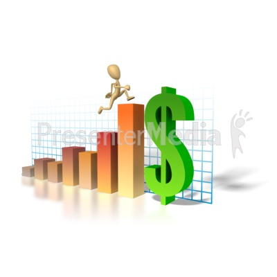 Graph Money Man Running Up Presentation clipart