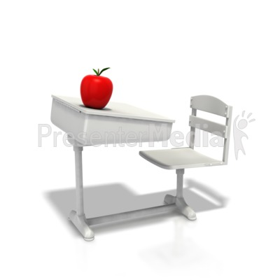 School Desk With Apple Presentation clipart
