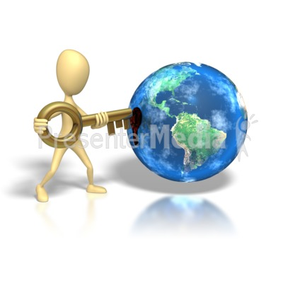 Stick Figure Insert Key Earth Hole Presentation clipart