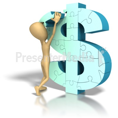 Stick Figure Money Symbol Lift Puzzle Pi Presentation clipart
