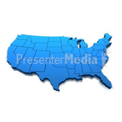 United States Blue Map Outline Presentation clipart