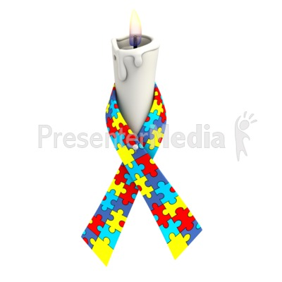 Autism Ribbon Candle Presentation clipart