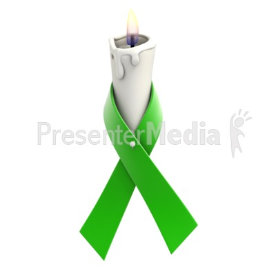 Green Ribbon Candle Presentation clipart