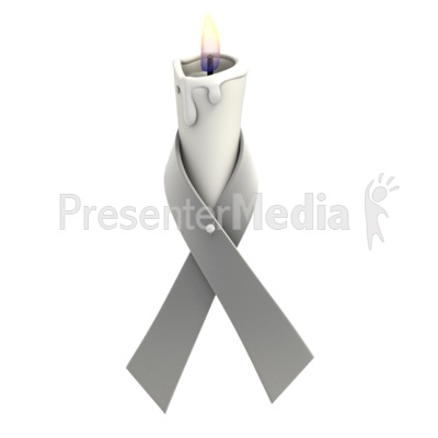 Grey Ribbon Candle Presentation clipart