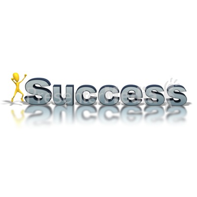 Success Text Man Excited Presentation clipart