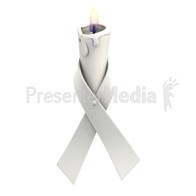 White Ribbon Candle Presentation clipart