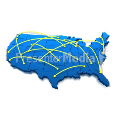 United States Networking Lines Presentation clipart