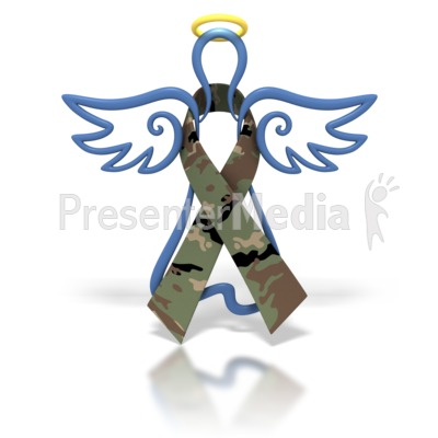 Angel Outline Army Camo Ribbon Presentation clipart