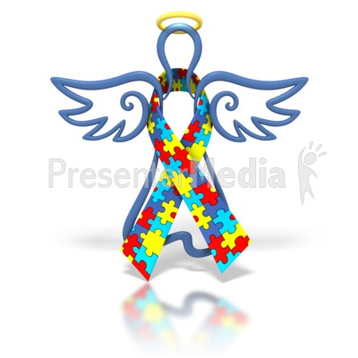 Angel Outline Autism Ribbon Presentation clipart