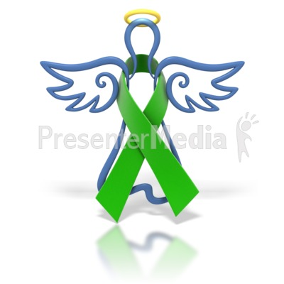 Angel Outline Green Ribbon Presentation clipart