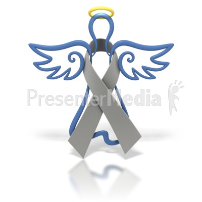 Angel Outline Grey Ribbon Presentation clipart
