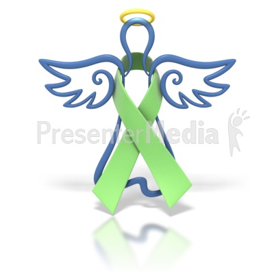 Angel Outline Lime Ribbon Presentation clipart