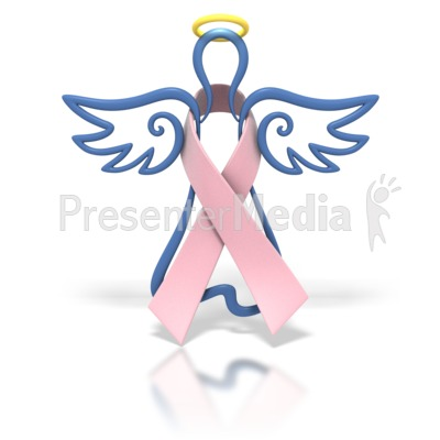 Angel Outline Pink Ribbon Presentation clipart