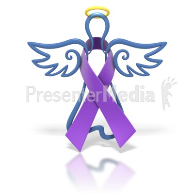 Angel Outline Purple Ribbon Presentation clipart