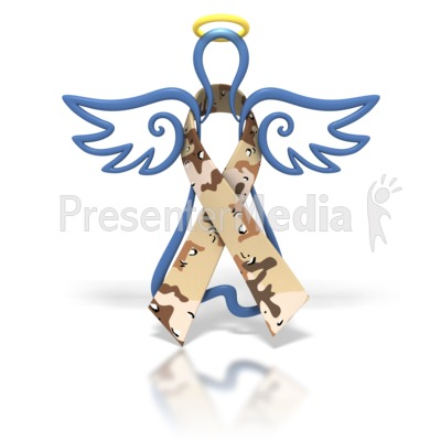 Angel Outline Desert Camo Ribbon Presentation clipart