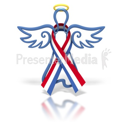 Angel Outline Red White Blue Ribbon Presentation clipart