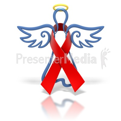 Angel Outline Red Ribbon Presentation clipart