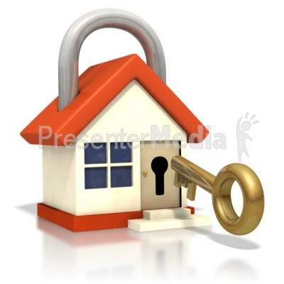 House Lock Key Insert Door Presentation clipart
