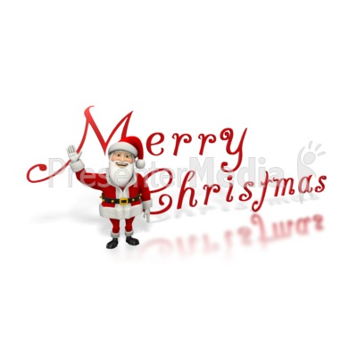 Santa Waving Merry Christmas Presentation clipart