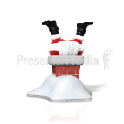 Santa Upside Down Chimney Presentation clipart