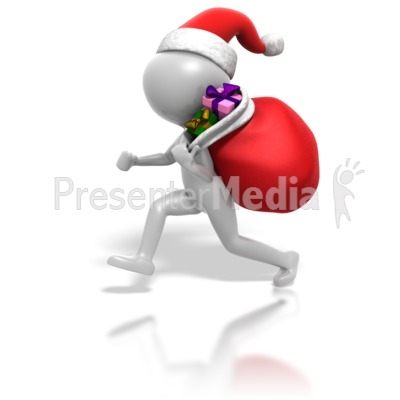 Christmas Stickman Gifts In Bag Presentation clipart