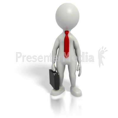 Business Grey Stick Guy Briefcase Presentation clipart