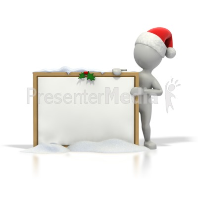 Christmas Stick Guy Blank Snow Board Presentation clipart
