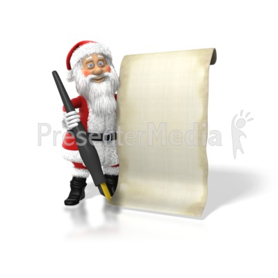 Santa With His List Presentation clipart