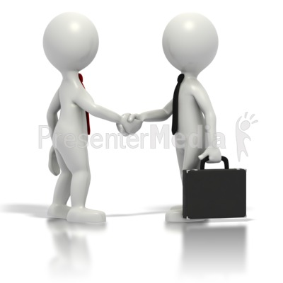Business Grey Stickmen Shake Hands Presentation clipart