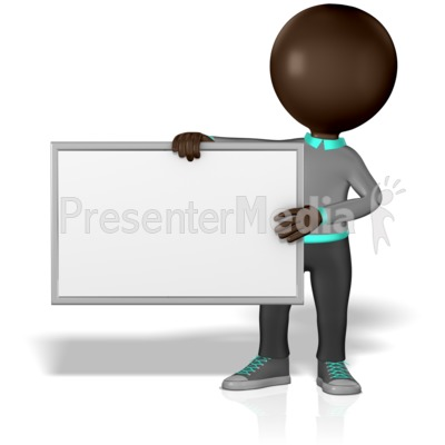 Grey Stick Guy Blank Board Presentation clipart