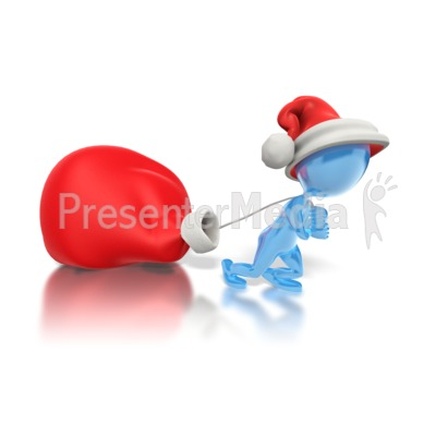 Dragging Santas Bag  Presentation clipart