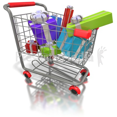 Shopping Cart Presents Presentation clipart