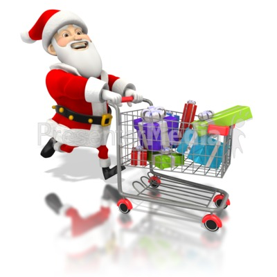 Santa Pushing Shopping Cart Presentation clipart