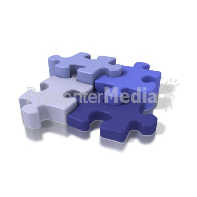 Four Blue Puzzle Pieces Presentation clipart