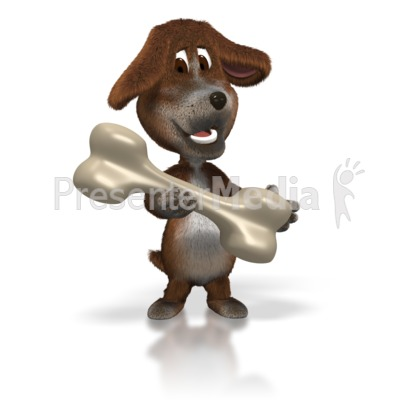 Dog with Giant Bone Presentation clipart