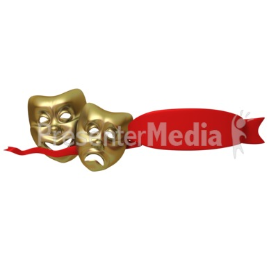 Theater Masks With Red Ribbon Presentation clipart