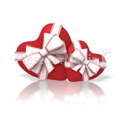 Two Valentine Hearts With Ribbons Presentation clipart