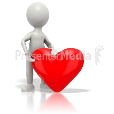 Stickman Giving Red Heart Presentation clipart