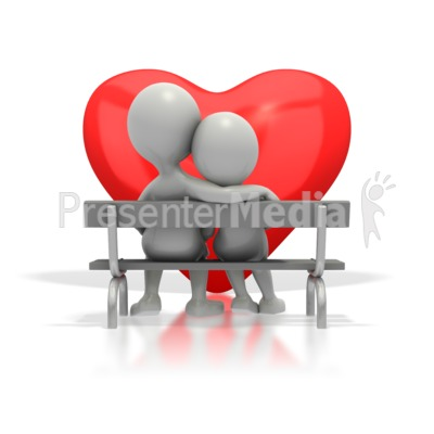 Couple Sitting On Bench By Heart Presentation clipart