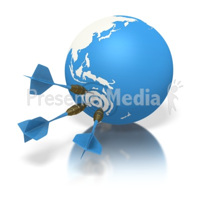 Blue Earth Three Darts Target Australia Presentation clipart