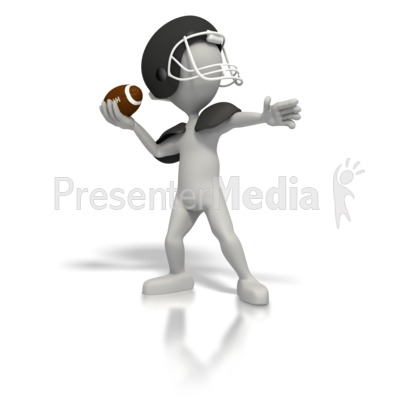Stick Figure Quarterback Throw Football Presentation clipart