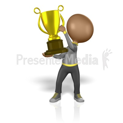Stick Figure Holding Big Trophy Presentation clipart