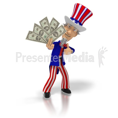 Uncle Sam Holding Money  Presentation clipart