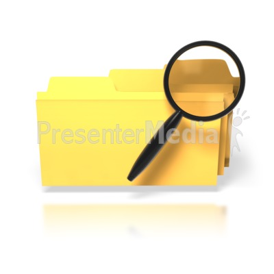Magnifying Glass Search Folders Presentation clipart