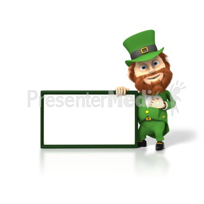 Happy Leprechaun With Sign Presentation clipart