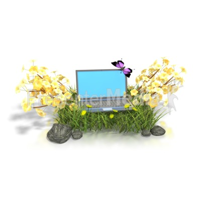 Laptop In Flowers  Presentation clipart